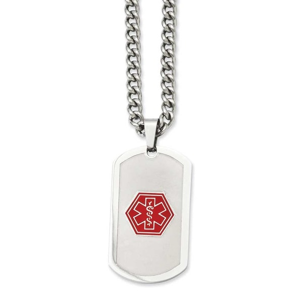 Stainless Steel Brushed&Polished Dogtag Medical Pendant 30in Necklace (4 mm) - 30 in
