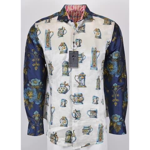 Robert Graham FLORAL EYE Silk Beer Stein Limited Edition Shirt