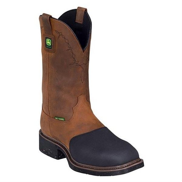 John Deere Work Boots Mens Western Met Guard Steel Toe Bark