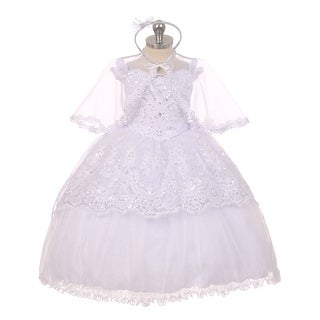 Rainkids Little Girls White Organza Sequins Hi-Low Sheer Cape Baptism Dress 2-6
