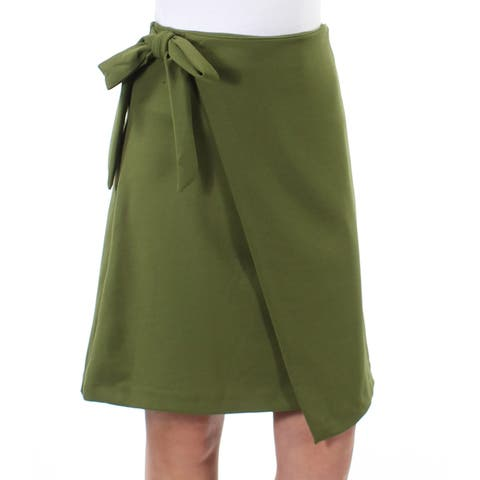 ECI Womens Green Tie Above The Knee Faux Wrap Wear To Work Skirt Size: XS