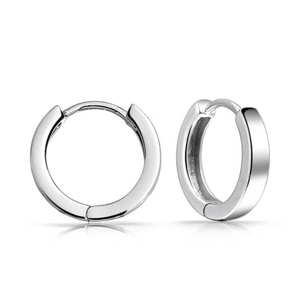 Bling Jewelry 925 Sterling Silver Mens Mini Small Hoop Earrings