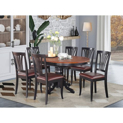 AVON7-BLK-LC 7-Pc Dining room set-Oval Table with Leaf and 6 Dining Chairs - Black and Cherry Finish (Pieces Option)