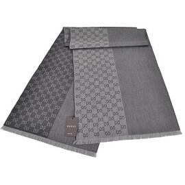 Gucci 344994 Wool Ombre Grey GG Guccissima Scarf Muffler