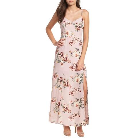 Leith Pink Womens Size Large L Floral Side Slit V-Neck Maxi Dress