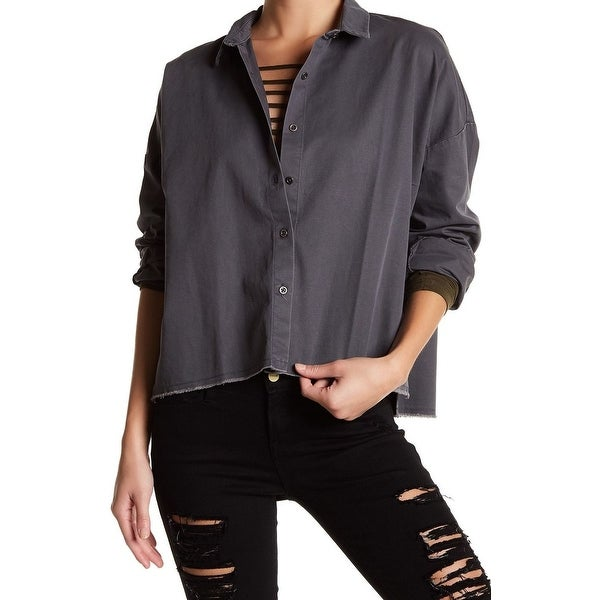 488fa84e Shop Good Luck Gem NEW Dark Gray Women's Size XS Utility Button Down Shirt  - Free Shipping On Orders Over $45 - Overstock - 21854710