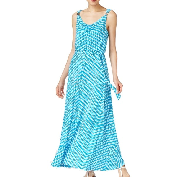Calvin Klein New Blue Womens Size Xs Cowl Neck Printed Maxi Dress