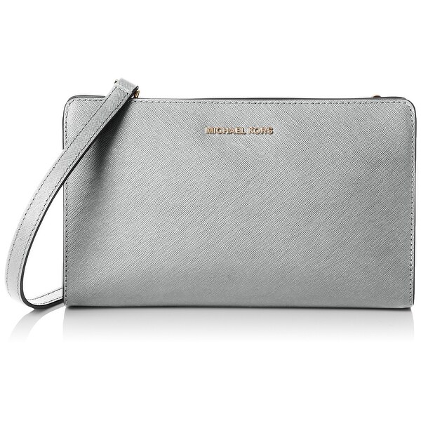 8427c647dfab Shop Michael Kors Silver Saffiano Leather Large Crossbody Clutch ...