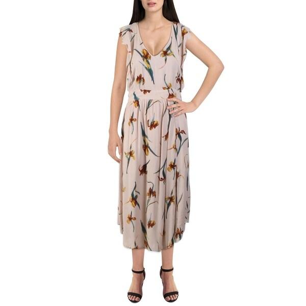 O'Neill Womens Amberynn Casual Dress Printed V-Neck - Tan. Opens flyout.