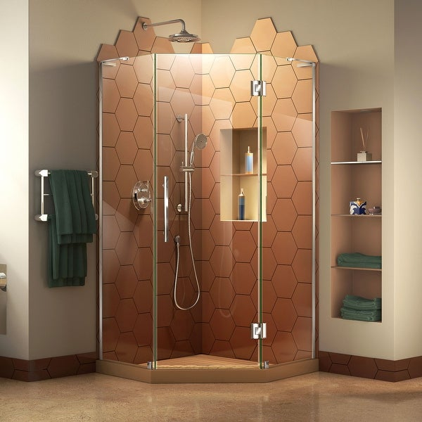 """DreamLine Prism Plus 34 in. x 34 in. x 72 in. Frameless Hinged Shower Enclosure - 34"""" x 34"""" - 34"""" x 34"""". Opens flyout."""