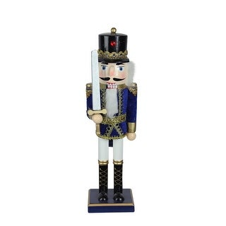 """14"""" Decorative Wooden Blue, White and Gold Christmas Nutcracker Soldier with Sword"""