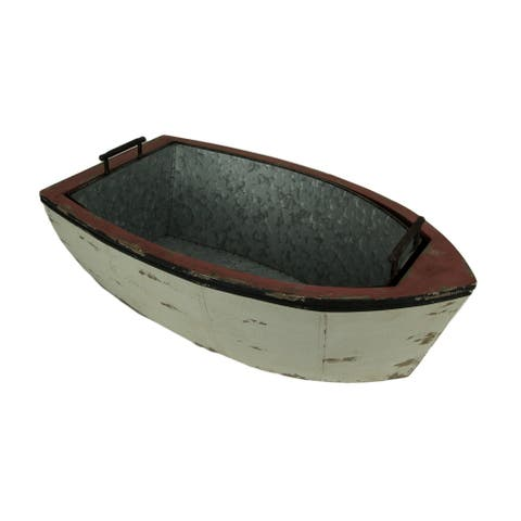 Distressed Wood and Metal Vintage Row Boat Ice Bucket - 9.75 X 28 X 15.75 inches