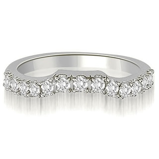 0.25 CT.TW Curved Round Cut Diamond Wedding Ring - White H-I
