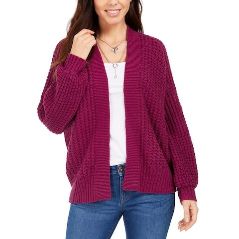 Style & Co Women's Chunky Cable-Knit Open-Front Cardigan Purple Size Small