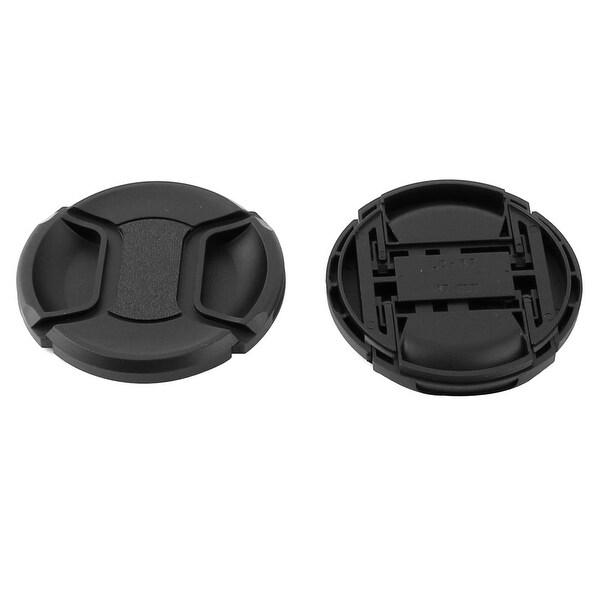DSLR Camera Plastic Universal 67mm Center Pinch Front Lens Cap Black 2 Pcs