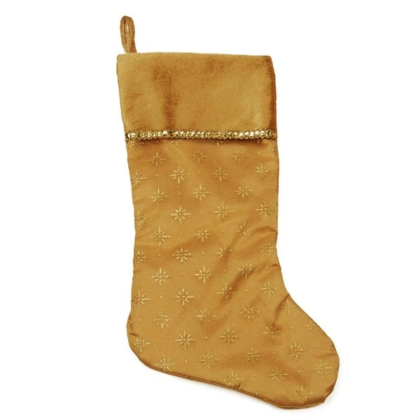 """20"""" Gold Glittered Starburst Christmas Stocking with Shadow Velveteen Cuff"""