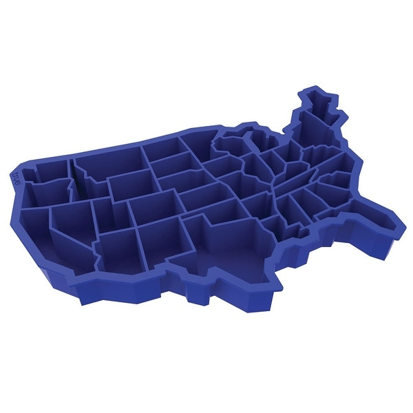 "Usa Ice Cube Tray - Soft Silicone - 8"" X 5"" - Blue"