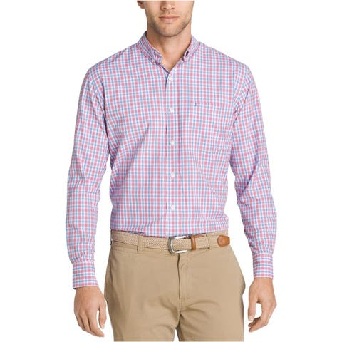 IZOD Mens Breeze Plaid Button Up Shirt, Red, Small