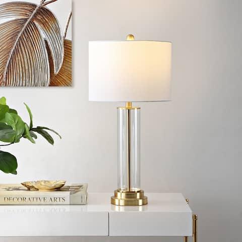"SAFAVIEH Lighting 26-inch Cassian Glass Table Lamp - 14"" x 14"" x 26"""