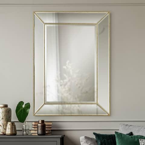 Renwil Delano Gold Beaded Rectangular Frame Wall Mirror - Large