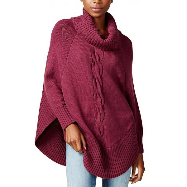 Shop Maison Jules Cable Knit Poncho Sweater Savory Wine Xxs Free