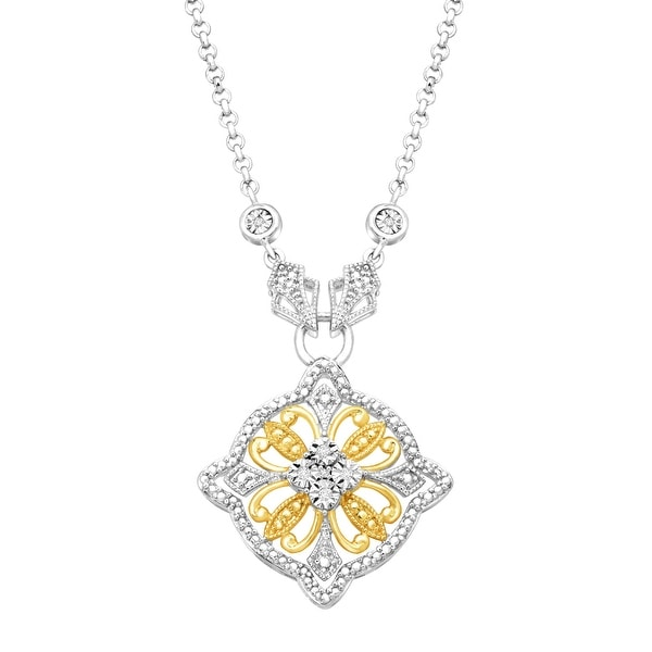 Two-Tone Filigree Necklace with Diamonds in 14K Gold-Plated Sterling Silver