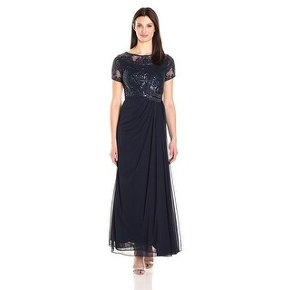 Alex Evenings Embellished Ruched A-Line Evening Gown Dress