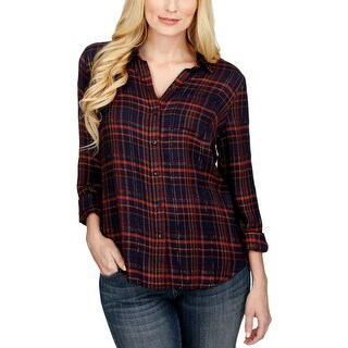 Lucky Brand Womens Casual Top Button Dowon Plaid