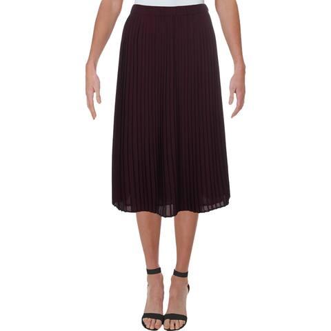 Eileen Fisher Womens Petites Midi Skirt Pleated Mid-Calf