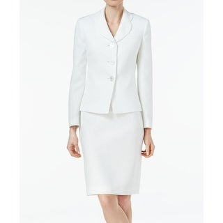 Le Suit NEW White Women's Size 6 Jacquard 3-Button Skirt Suit Set