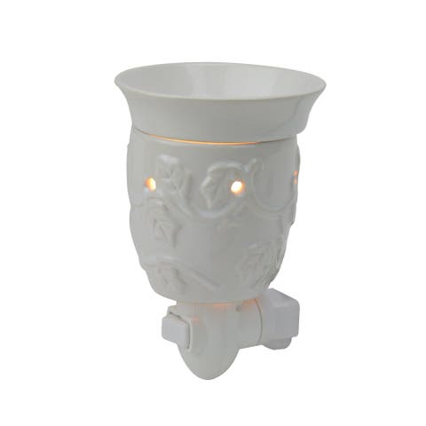 "5"" Floral White Ceramic Wax Melter Plug-In - N/A"