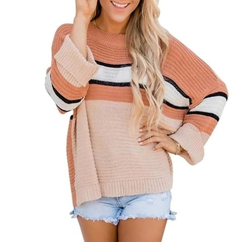 Rolled Sleeve Striped Panel Knit Sweater