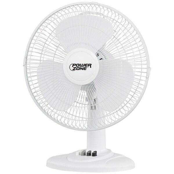 """Power Zone FT-40 3-Speed Desk Fan, White, 16"""""""