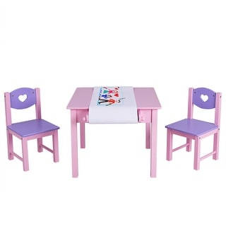 Costway Kids Art Table and 2 Chairs Set with Paper Roll Rack & 2