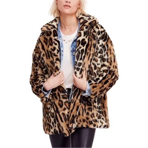 Free People Womens Leopord Faux Fur Coat, Brown, Large