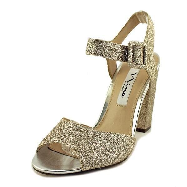 Nina Shirley Women Open-Toe Synthetic Silver Heels