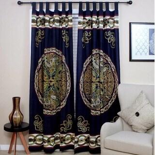 Handmade Celtic Wheel of Life Print Cotton Tab Top Curtain Drape Panel - 44 x 88 inches