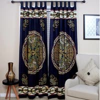 Handmade Celtic Wheel of Life Print Cotton Tab Top Curtain Drape Panel - 44 x 88 inches