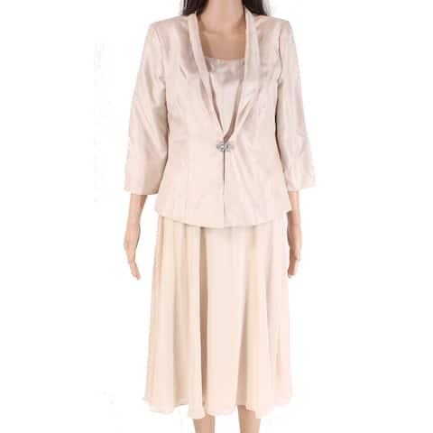 Jessica Howard Women's Dress Suit Tan Beige Size 8 2-Piece Blazer