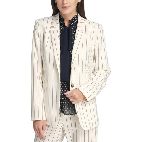 DKNY Womens Petites One-Button Blazer Pinstripe Suit Separate - Ivory/Navy