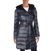 Ellen Tracy Womens Coat Animal Print Hooded
