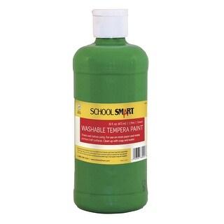 School Smart Non-Toxic Washable Tempera Paint, 1 pt Plastic Bottle, Green