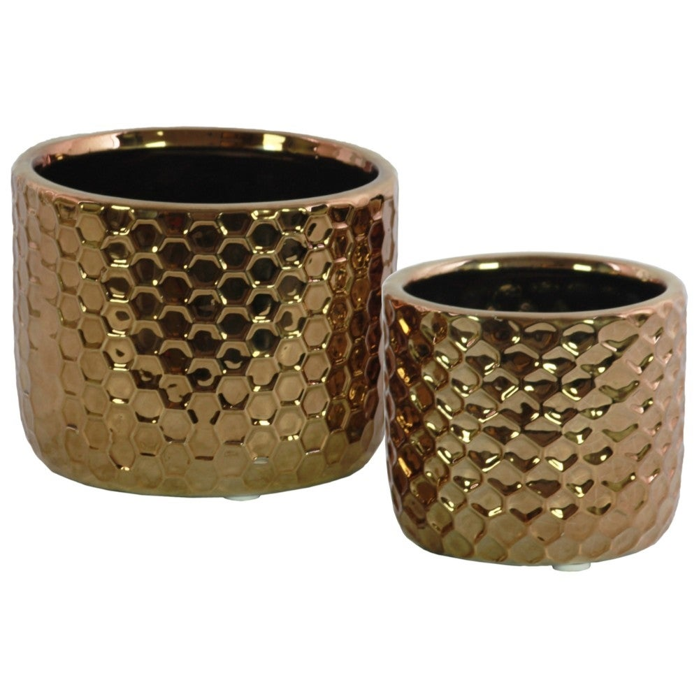 Ceramic Round Vase With Honeycomb Pattern, Set Of 2, Copper