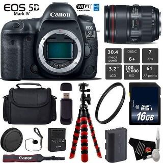 Canon EOS 5D Mark IV DSLR Camera with 24-105mm f/4L II Lens + Case + Wrist Strap + Card Reader - Intl Model
