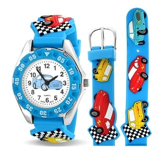 Bling Jewelry Boys Race Car Driver Wheels Blue Kids Sports Watch