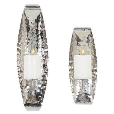 """Silver Wall Sconce and Candleholders Set Of 2 19"""" 14"""" - 6 x 6 x 19"""
