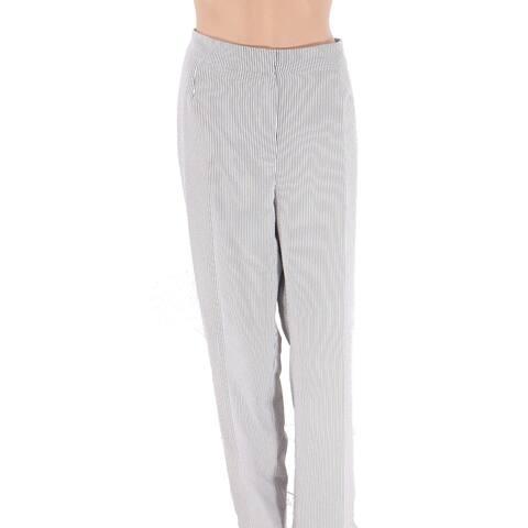 Le Suit Women's Pants Gray Size 14 Striped Straight-Leg Seychelles