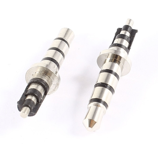 Unique Bargains 2 x Silver Tone Stereo Microphone 3.5mm Audio Male Plug Jack Connector Solder