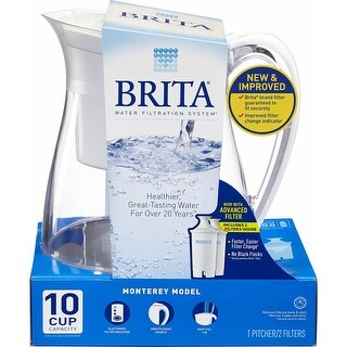 Brita Water Filtration System Monterrey Model Includes 2 Filter - White - 10 cup