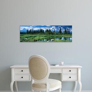 Easy Art Prints Panoramic Images's 'Reflection of trees, Mt McKinley, Denali National Park, Alaska' Premium Canvas Art
